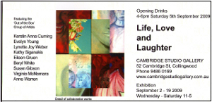 Image of flyer invite for Life, Love and Laughter exhibition.